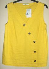 BNWT TU Linen Blend - Sleeveless V Neck Top - Yellow / Mustard - Size 10