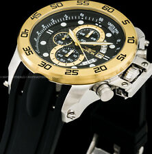 Invicta Mens 51mm I Force Chronograph Carbon Fiber Dial 18K Gold IP SS PU Watch