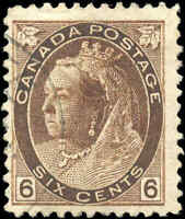 1898 Used Canada F Scott #80 6c Queen Victoria Numeral Issue Stamp