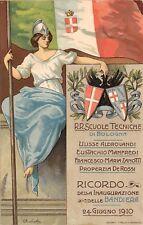 2749) SCUOLE TECNICHE DI BOLOGNA, 1910 RICORDO INAUGURAZIONE DELLE BANDIERE. VG.