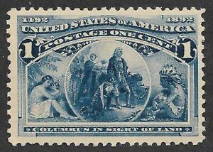 Mr B's US Stamp 1893 #230 MNH OG - Columbus Sights Land- 1 Cent - FREE SHIPPING!