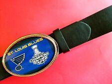 St. LOUIS BLUES   2019 STANLEY CUP Championship Buckle  & Black Bonded Belt