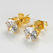 Women's Ear stud Earrings 18k Yellow Gold Filled 8mm CZ Fashion Jewelry Gift