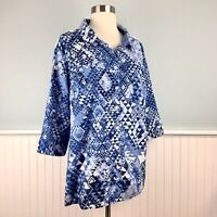 Size 2XWP Catherines Button Up Down Blue White Top Blouse Shirt Plus 2X Petite