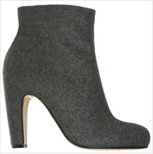 Maison Martin Margiela Gray Wool Leather Ankle Boots Curved Heel Sz 40