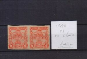 ! Nicaragua 1890. Imperforated Pair Stamp. YT#21. €40.00!