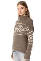 NWT Vince Wool Cashmere Fair Isle Turtleneck Sweater Mud Light Camel S $485