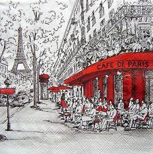 5 Servietten * CAFE DE PARIS * Bistro Straßenkaffee Eiffelturm Metro Napkins