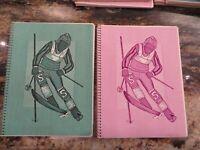 2 1970's TOUCHABLES textured spiral bound theme  NOTEBOOK Wind Downhill  Skier