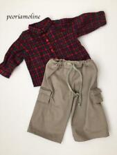 Retired American Girl / Boy Drawstring Cargo PANTS & Plaid Red Flannel SHIRT~NEW