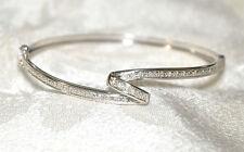 10k White Gold & Diamond Hinged Bangle Bracelet - NICE!!