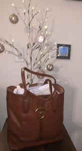 Gently Used Frye Leather RING Tote Shoulder Bag COGNAC Brown MSRP$428