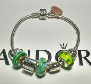 "Authentic Pandora Barrel Clasp Bracelet & Pandora Charms 7.5""/19cm PERFECT GIFT!"