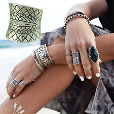 Vintage Beach Punk Ring Carved Totem Silver Plated Boho Finger Ring Knuckle LWCA