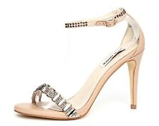 Steve Madden Womens Suzzana Beige Ankle Strap Sandal Heels Sz 8M 3359