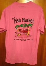FISH MARKET med tee Michigan pink T shirt Fresh Best seafood Erie lobster mascot