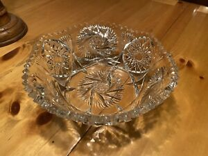American Brilliant Period Deep Cut Crystal Sawtooth Bowl Vintage Heavy