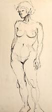 VINTAGE MODERNIST NUDE WOMAN PORTRAIT INK PAINTING