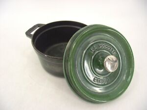 STAUB LA COCOTTE GREEN ENAMEL ROUND DUTCH OVEN 20 WITH LID FRENCH