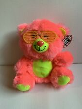 "Peek a Boo Toys Plush Shutter the Bear 7.5"" Bright Neon Pink Glasses Tags"