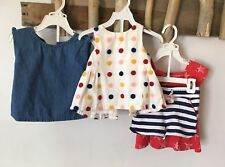 Baby Girls Cotton Set Of 3 Outfits 18 months Mo Summer Shorts Red White Blue