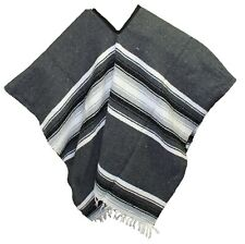 EXTRA WIDE Mexican PONCHO - Dark Gray - ONE SIZE FITS ALL Blanket BIG AND TALL