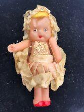 """Vintage Celluloid Kewpie Carnival Doll 3"""" String Joint White Skirt Ruffles"""