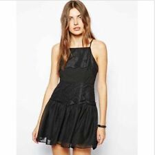 NWT BCBG BCBGeneration Boho Black Lace Applique cocktail Dress Polka Dots  0 xs
