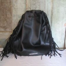 VICTORIA'S SECRET Fashion Show Faux Leather Fringe Backpack & Bag Black NWT