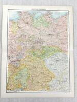 1898 Map Of Central Deutschland Bavaria Bohème Hess Pommern 19th Jahrhundert