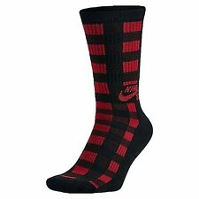 New Nike Mens Skate Boarding Dri-Fit Buffalo Plaid Crew Socks Black L SX4933-010