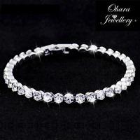 Cubic Zirconia Silver Tennis Bridal Bridesmaid CZ Crystal Bracelet Jewellery Uk