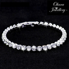 Cubic Zirconia Silver Tennis Bridal Bridesmaid CZ Crystal Bracelet Jewellery Uk