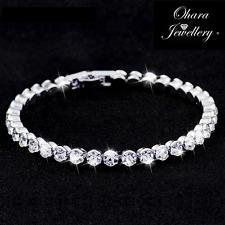 New Cubic Zirconia Silver Tennis Bracelet Jewellery Ladies Gift Bead Women UK