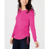 Thalia Sodi Women's Ruched Keyhole Sweater Raspberry Pink Size Medium