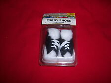 retro FURRY little SHOES-hang anywhere-WHITE/BLACK-hot rod car accessory-NOS NEW