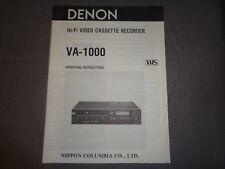 DENON VA-1000 HiFi Video Cassette Recorder Operating Instructions **ORIGINAL**
