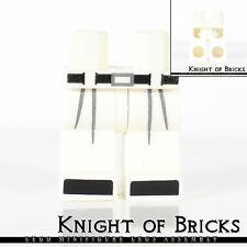 Lego Minifigure Legs WHITE Hips and BLACK Belt Boot Tips GRAY Pleats Belt Buckle