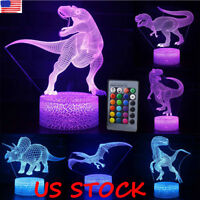 3D Dinosaur 7 Color USB Touch Night Light Led Lamp Table Desk Kids Xmas Gift US