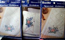 "3 kits ""ROSE TRELLIS"" Bucilla Stamped Xstitch  Pillowcases & 2 Dresser Scarves"