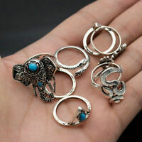 retro Tribal Turquoise Hippie Gothic Elephant Snake Stacking Rings Set 8PCS