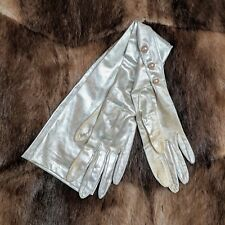 Pair of Vintage Vtg Stylish Small Fashionable Ladies Silver Gloves (Good)