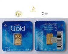 0.25 gram Fine Gold Bullion Bar 24K.995 Nadir LBMA
