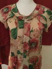 Talbots Woman's Vibrant Colored Floral Ruffled Detail Blouse NWT Size 2