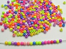 """1000 Mixed Matte Neon Color Acrylic Round Beads 4mm(0.16"""")"""