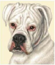 WHITE BOXER DOG, puppy Full counted cross stitch kit