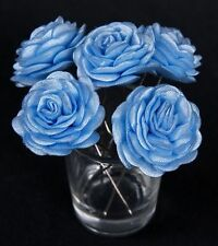 6 Bridal Wedding light blue  Rose Flower Hair Pins Clips Grips handmade