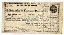 1867 Indianapolis & Vincennes Rr Co. Stock Cert. signed by Ambrose E Burnside