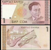 KYRGYZSTAN 1 Som, 1999, P-15, UNC World Currency - Paper Money