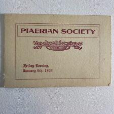 Antique 1909 Piaerian Society Collegiate Program Brochure Bates College